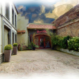 Courtyard Montreuil by Rodney Tietjen - Digital Art Places ( sky, france, painting )