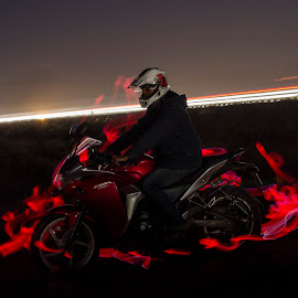 The Biker by Rasesh Pal - Abstract Light Painting ( cbr250r, honda, light painting, light trails, long exposure )