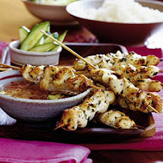 Chicken Skewers With Cucumber & Shallot Dip
