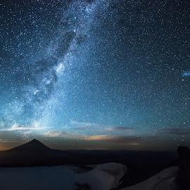 Moonrise @ 2400m over Lanin Volcano by James Hamer - Landscapes Travel ( moon, volcano, stars, night sky, milky way )