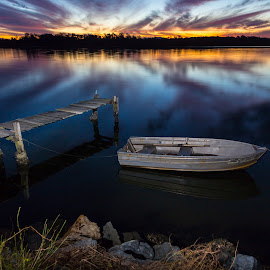 River Sunset by Tony Sullivan - Landscapes Sunsets & Sunrises ( water, sunset, boats, australia, long exposure, rivers )