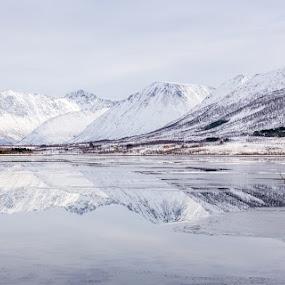 Mountais at eidbukt by Benny Høynes - Landscapes Mountains & Hills ( mountains, winter, snow, lake, norway )