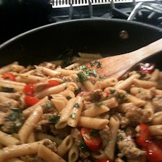 Penne with Turkey Sausage, Cherry Tomatoes and Basil