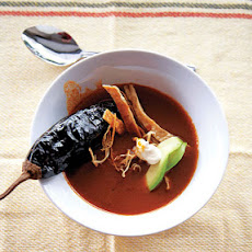 Sopa de Chile Ancho (Ancho Chile Soup with Avocado, Crema, and Chile Pasilla)