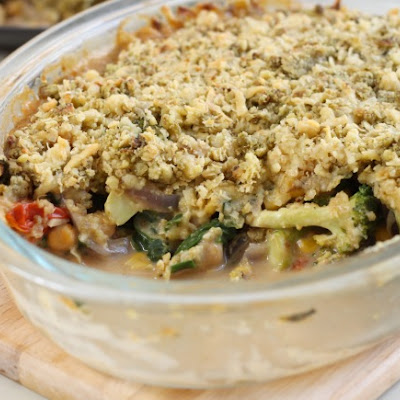 Vegetable Crumble With Cheesy Pesto Topping