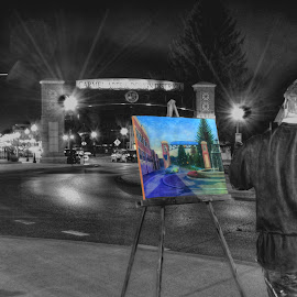 Oh to see through the eyes of an Artist by Dennis McClintock - City,  Street & Park  Street Scenes ( street scene at night, indiana, artist at work, street scenes, city street )