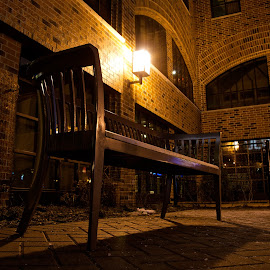 A bench  by Yu Tsumura - Artistic Objects Furniture ( bench, low angle, night, hotel, light )