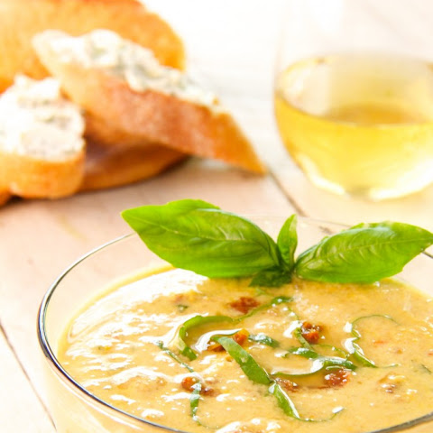 Sweet Corn and Sun-Dried Tomato Chowder with Goat Cheese - Chive Croutons