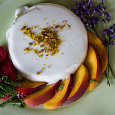 Lavender Panna Cotta with Peaches, Berries, Basil and a Hint of Mint
