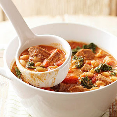 Easy Kale, Beef and White Bean Stew