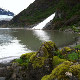 Mendenhall Glacier and waterfall outside of Juneau by Stephen Terakami - Landscapes Travel