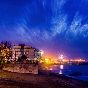 Salerno by Night by Sabrina Campagna - Landscapes Waterscapes ( water, waterscape, lunga esposizione, sea, beach, seaside, landscape, salerno, city, campania, night photo, night photography, city lights, long exposure, night, italy, , colorful, mood factory, vibrant, happiness, January, moods, emotions, inspiration )
