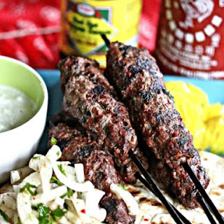 Grilled Beef Kebabs with Yogurt-Mint Sauce and Onion Salad