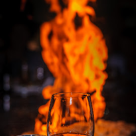 Flaming Homer by Jack Brittain - Food & Drink Alcohol & Drinks ( wine, glass, varadero, fire, meal, flame, cuba )
