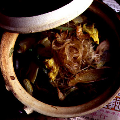 Braised Bean Threads with Mushrooms and Cabbage