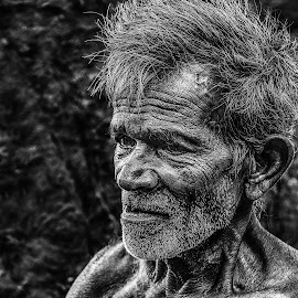 Old Man by Buddhika Jayawaredana - People Portraits of Men ( old, details, hdr, black and white, grandfather, candid, sri lanka, portrait )