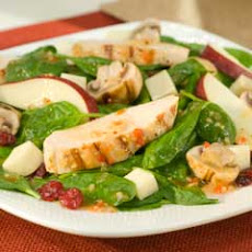 Spinach & Mushroom Salad With Grilled Chicken