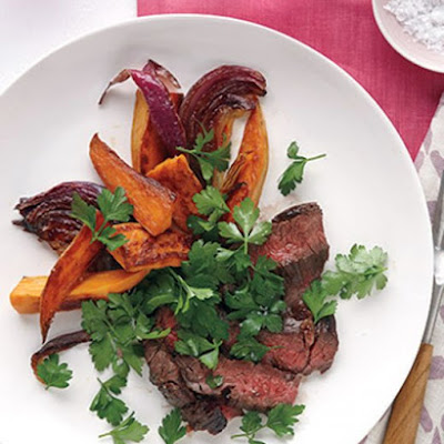 Skirt Steak with Sweet Potato Wedges and Parsley Salad
