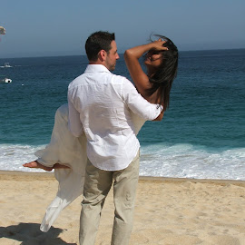 Destination Wedding by Marsha Norris - Wedding Bride & Groom ( wind, wedding, beach, bride and groom, beach wedding )