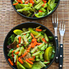 Amazing Asian Green Salad with Soy-Sesame Dressing and Sesame Seeds