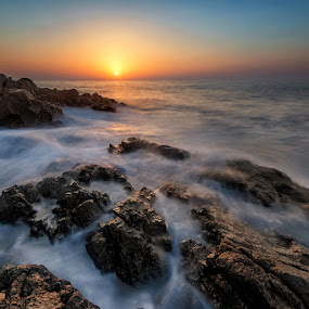 Fujairah Sunrise by Andrew Madali - Landscapes Beaches ( fujairah, haida filter, nikon d800, uae, sea, long exposure, beach, sunrise, rocks )