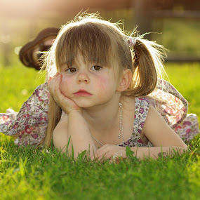 Grumpy by Giselle Pierce - Babies & Children Children Candids ( child, little girl, girl, children, summer, green grass )