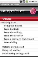Screenshot of LG Optimus U User Guide