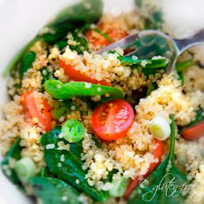 Quinoa + Spinach Salad Recipe with Grape Tomatoes