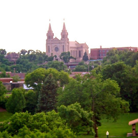 View of the Cathedral from the Falls. by Janet Evangelisto - Buildings & Architecture Places of Worship