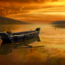 Old fishing boat by George Petridis - Digital Art Places ( clouds, sky, wooden, sunset, formations, lake, fishing, boat, golden )