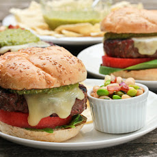 Salsa Verde Burgers with Fontina, Watermelon and Basil