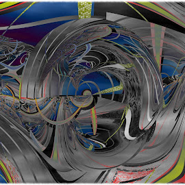 New World by Joerg Schlagheck - Digital Art Abstract ( yoplay., wrinkles, car, clouds, cabbage, clown, freakshow, women )