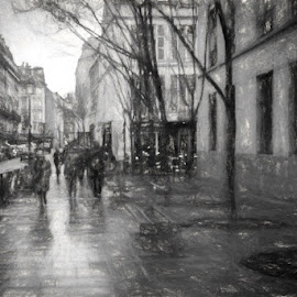 Street of Paris by Xavier Barceló Pinya - Digital Art Places ( paris, street, digital art, trees, cloudy )