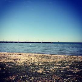 Portarlington Beach.  Beautiful just right not too hot just a nice breeze. by Mic Larkins - Instagram & Mobile Instagram ( sun, boats, pier, fun )