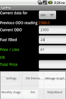 Screenshot of Vehicle Mileage Tracker