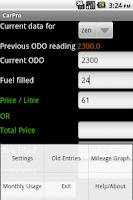 Screenshot of Vehicle Mileage Tracker