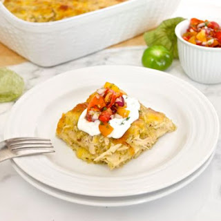 Chicken Verde Enchilada Bake with Heirloom Cherry Tomato Salsa