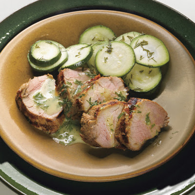 Grilled Pork Tenderloin with Mustard-Dill Sauce