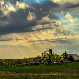 Southern Lancaster Co. Farm by Troy Snider - Landscapes Prairies, Meadows & Fields ( field, farm, light rays, simple, sunrays, light, silo, sun, rural, farming )