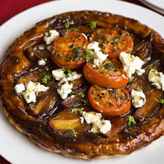 Shallot Tart Tatin With Roasted Tomatoes And Goat's Cheese
