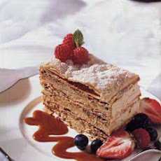 Caramel Mousse Napoleon with Caramel Sauce and Berries