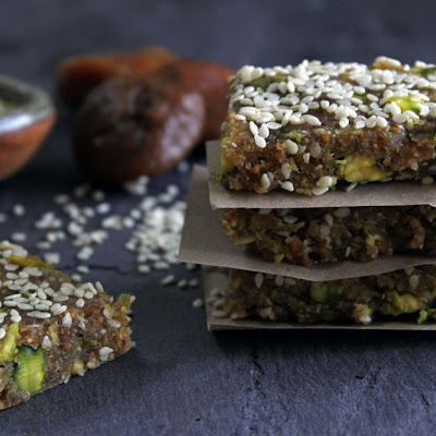 Raw Fig Bars W/ Tahini, Pistachios & Orange Zest