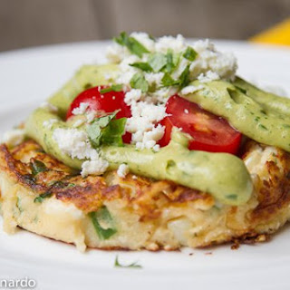 Mexican Mashed Potato Cakes with Avocado Sauce & Cotija Cheese