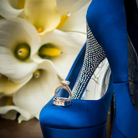 Details by Troy Young - Wedding Details ( shoes, blue, wedding, rings, bride, flowers, object, artistic, jewelry )