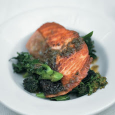 Pan-roasted Salmon With Purple Sprouting Broccoli & Anchovy-rosemary Sauce