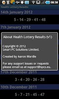 Screenshot of Health Lottery Results Checker