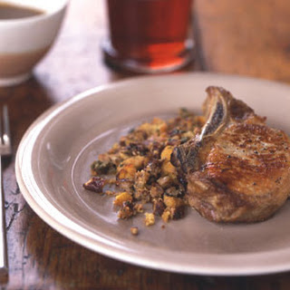 Pork Chops with Pecan Corn Bread Dressing and Cider Gravy