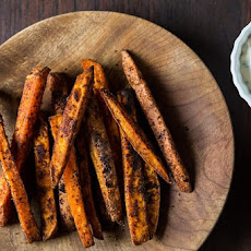 Southwestern Spiced Sweet Potato Fries with Chili-Cilantro Sour Cream