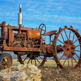 Rusty but proud by Brian Brown - Transportation Other ( farm machinery, steel wheeled tractor, rust, tractor, antique,  )