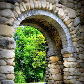 Bancroft Tower arch, Worcester, MA by Lori Rider - Buildings & Architecture Architectural Detail ( detail, arch, stone, rocks, gate )